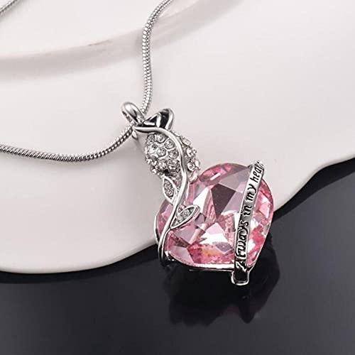 KBFDWEC Collar de Ceniza de cremación de Flor de corazón de Cristal, Collar con Colgante de urna Conmemorativa de Recuerdo para Mujeres y Hombres, los Mejores Regalos