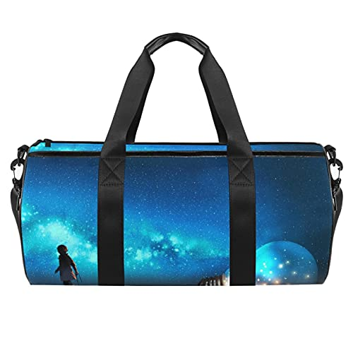 Bolsa de gimnasio azul para hombres y mujeres bolsas de fin de semana bolsa de viaje deportiva con bolsillo impermeable