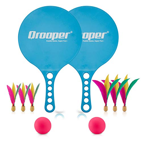 Qrooper Paddle Ball Set, Indoor Kids Toys Game with 2 Elastic Balls and 6 Birdie Balls ,Great for Indoors or Outdoors Playing