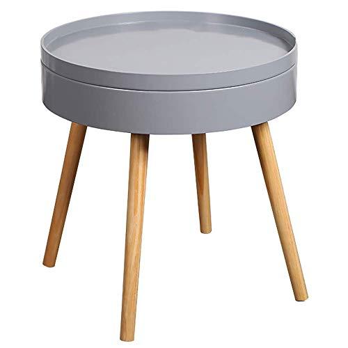 N/Z Tägliche Ausrüstung Lagerung Beistelltisch Holz Runde Nachttisch Snacks Teebuch Tablett Tische Kreative Hohe Couchtisch Moderne Kompakte Nachttisch für kleine Räume (Farbe: Grau)