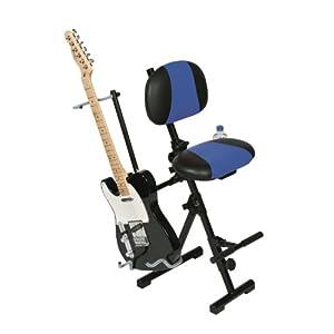 Gitarristen, GitarrenStuhl, GitarristenStuhl, Gitarristenhocker, Gitarrenhocker, Drummerhocker, Stehhilfe mit Fußstütze,Kunstleder schwarz/blau, platzsparend zusammenklappbar
