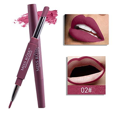 Tonsee MISS ROSE Sexy Métallique Lip Gloss Fashion Rouge à lèvres Double-end Lasting Lipliner Waterproof Lip Liner Stick Pencil 20 Color (02#)