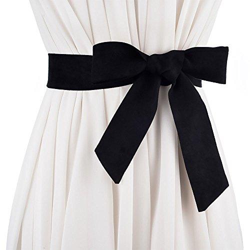 Ya Jin Women Suede Fabrics Obi Belt Self Knot Tie Up Waist Band Corset Cinch