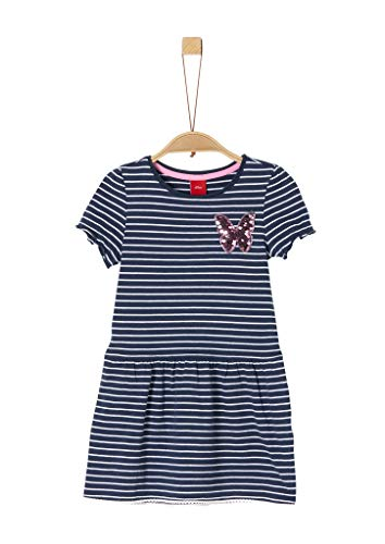 s.Oliver RED Label Mädchen Jerseykleid mit Pailletten-Patch Dark Blue Stripes 122.REG