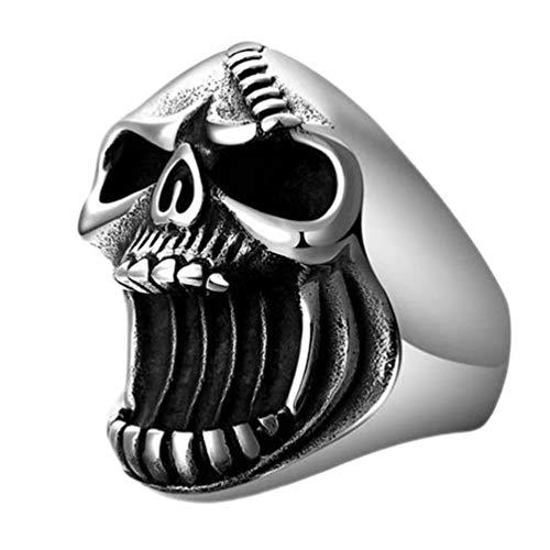 Cabilock Flaschenöffner Ring Metall Schädel Ringe Gothic Biker Punk Herren Ring Bier Flaschenöffner Vintage Kostüm Finger Band für Bar Freund Größe 12