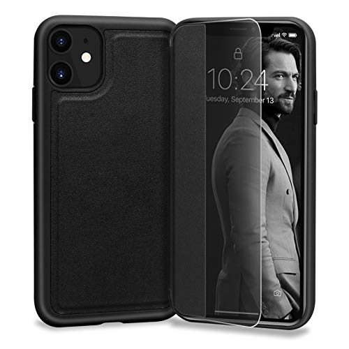 """Skycase Compatible for iPhone 11 Case 6.1"""", Handmade Slim Flip Folio Case Designed with Interior SD/SIM and Ejector Pin Slots for iPhone 11 6.1"""" 2019,Black"""