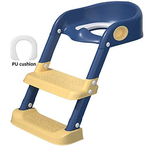 N \ A Azul Aseo Escalera Orinal Adaptador WC con Escalera,Capacidad de Carga 50kg,Seguro, Antideslizante Asientos WC Escalera para Viajes de Niños y Uso del Baño En Casa