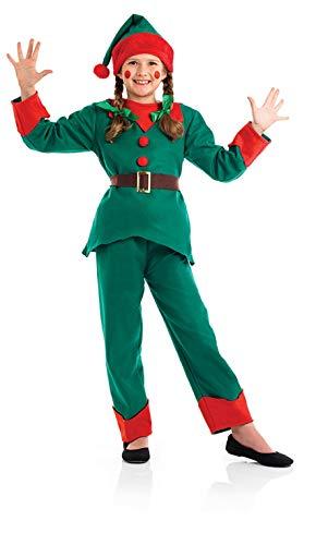 Kids Elf Costume Childrens Christmas Santas Helper Boys & Girls Outfit - Medium