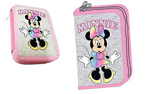 Portapastelli astuccio scuola Disney Minnie Topolina 2 zip Rosa e grigio art GIM34048100