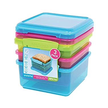 Sistema Lunch Collection Food Storage Containers, Assorted Colors, 40.6 Ounce/ 5 Cup each,  Set of 3
