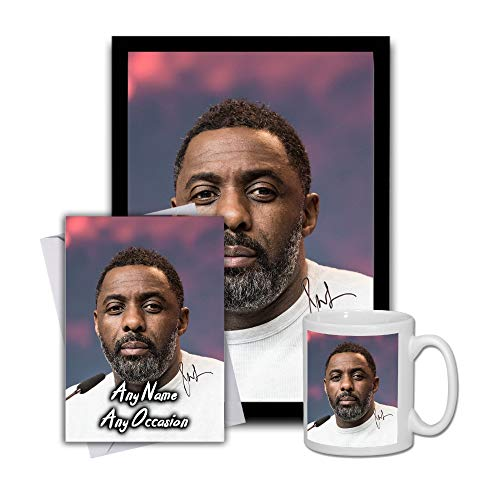 Star Prints UK Idris Elba 1 Gift Set Bundle 2019 - Large 11cm Mug, A4 Framed Poster and Matching Birthday or Christmas Card (No Personalised Card)