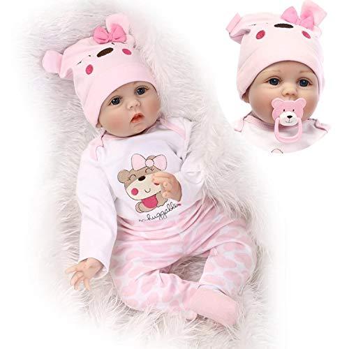 ZIYIUI Realiste 55cm Bebe Reborn Fille Poupée Reborn Poupons Silicone Reborn Babys Doll Pas Cher Magnétisme Jouet Cadeaux 22 Pouce