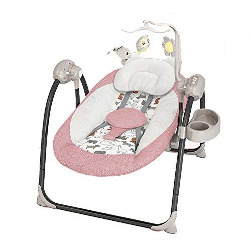 LITIAN Neugeborener Komfort Schaukelstuhl Baby-Elektro-Schaukelstuhl Baby-Wiege Lehnstuhl mit Bluetooth Pink