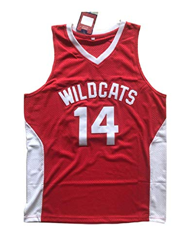 Zac E Troy Bolton 14 East High School Wildcats Red Basketball Jersey Stitch Jmes (30)