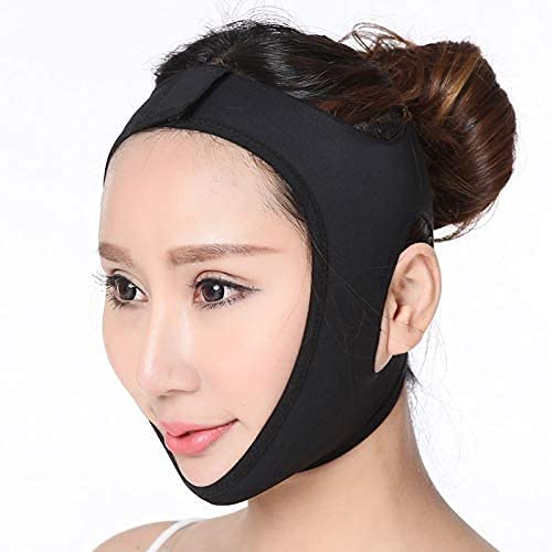 NYZXH Cara V Shaper Facial Adelgazamiento Vendaje Relajación Levantamiento de la Cinta Forma Lift Reduce Double Chin Face Funding Band Massage Blackl (Color : BlackL)
