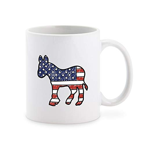 Political Red White And Blue American Pencil Illustration #2 - Democratic Party Donkey Cartoon Coffee Mug Tea Cup Novelty Gift Mugs 11 oz