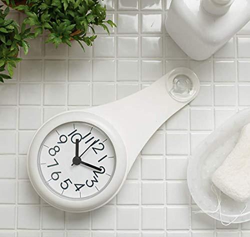 バスルーム時計 防水クロック 掛け時計 ウォールクロック 吸盤付き 防水 静音 浴室 キッチン お風呂 家庭用 おしゃれ (白色)