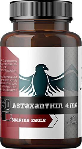 Astaxanthin Kapseln - 4mg pro Kapsel - 60 Kapseln - Mit Vitamin E - In deutschen Laboren geprüft - Ohne Füllstoffe – Haematococcus pluvialis Mikroalge