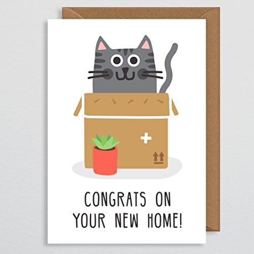 Kat Nieuwe Thuis Kaart - Nieuwe Pad Kaart - Nieuwe Huis Kaart - Kat Liefhebber Kado - Nieuwe Thuis Kaart Grappig - Nieuwe Thuis Cadeaus - Voor Paar - Voor Vriend