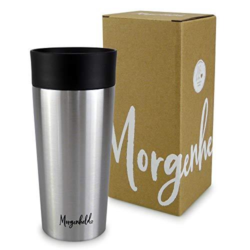 *Morgenheld ☀ Dein trendiger Thermobecher Kaffee to go 350ml – Quick Press Verschluss – Edelstahl Doppelwand Isolierbecher – auslaufsicher*