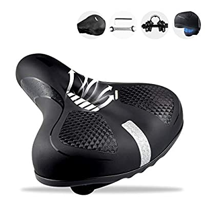 Pagetoc Extra Comfort Wide Bike Seat,Upgraded Dual Shock Absorber Ball Bicycle Seats for Men Women,High Density Memory Foam Bike Saddle Leather Padded with Reflective Strip Mounting Tools Rain Covers
