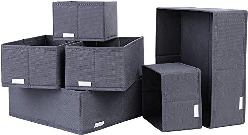 6er Set Aufbewahrungsbox faltbar Ordnungsbox Faltbox Stoff für Regale und Schubladen (Dunkelgrau)