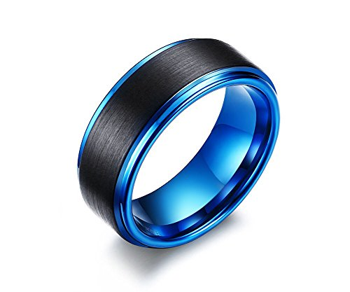 VNOX 8mm Men's Tungsten Carbide Wedding Engagement Band Black Matte Finish Face Ring,Blue Inside,UK Size X 1/2