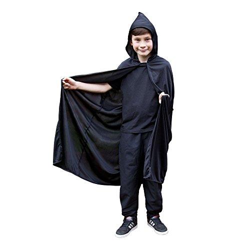 Halloween Hooded Cape - Childrens BLACK Kids Fancy Dress