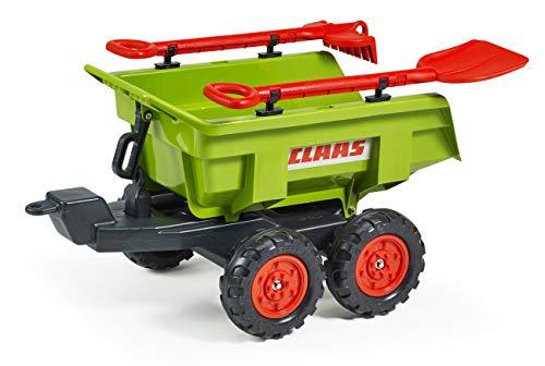 FALK - Remorque basculante Claas avec pelle et râteau - Dès 3 ans - Fabriqué en France - Grande contenance - Compatible tracteurs et tractopelles Falk 3/7 ans - 940CH
