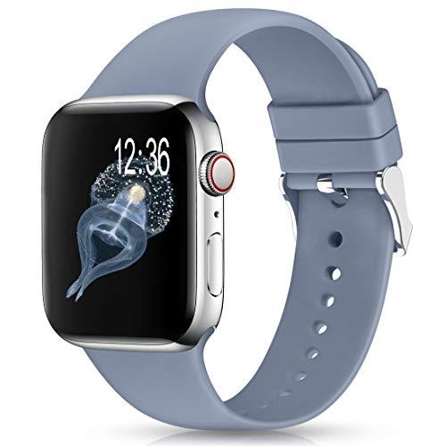 Jiamus Cinturino compatibile con Apple Watch, 38 mm, 42 mm, 40 mm, 44 mm, in morbido silicone, per iWatch Series 6, 5, 4, 3, 2, 1, SE e Nessun metallo, colore: G, grigio lavanda, cod. JMDE20210207A