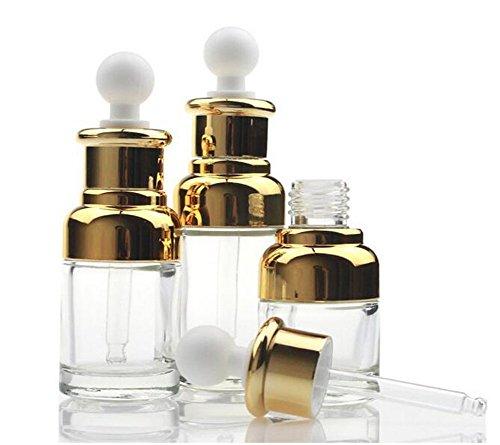ericotry 1 botella vacía de cristal transparente de lujo para aromaterapia, perfume esencial, aceite de élite, frascos cosméticos con pipeta de cristal, cuentagotas de ojos (30 ml, oro)