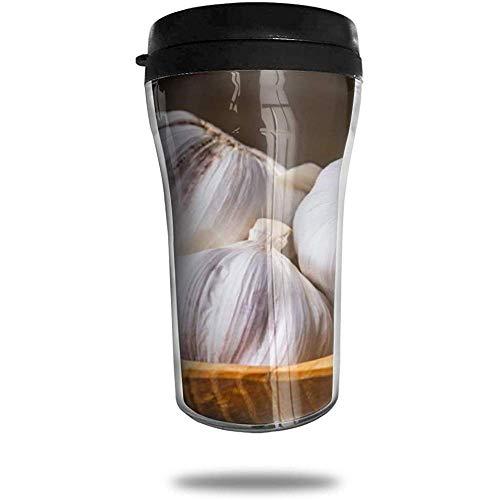 Knoblauch-Reise-Kaffeetasse 3D gedruckt tragbare Saugnapf, isolierte Teetasse Wasserflasche Becher zum Trinken mit Deckel 8,54 oz (250 ml)