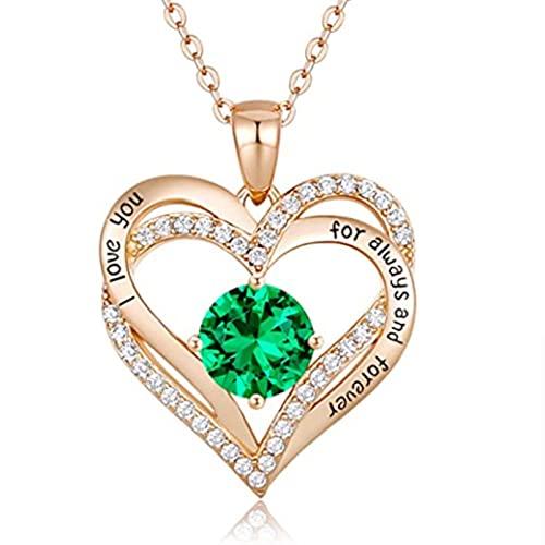 CHENLING Collar de piedra natal de enero a diciembre con corazón incrustado Letras collar para mujer, boda, compromiso, fiesta, joyería