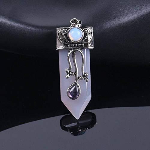 Collar De Piedras Mujeres Hombres,Vintage Étnico Piedra Natural Gris Ojo De Gato Cristal Colgante...