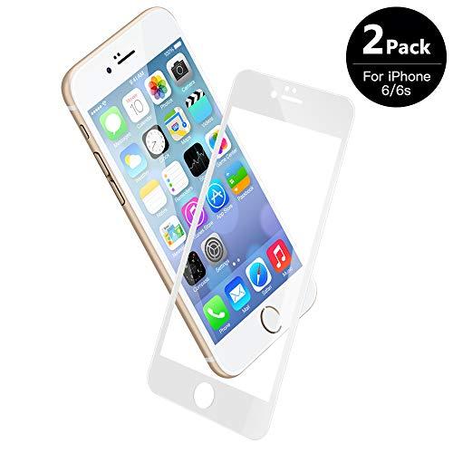 V VONTOX Protector Pantalla Compatible con iPhone 6/6s[2 Piezas],Vidrio Templado 3D, Vidrio Completo Protege la Pantalla Completa,Dureza 9H, Anti Rayado y Compatible con el Toque 3D(Blanco)