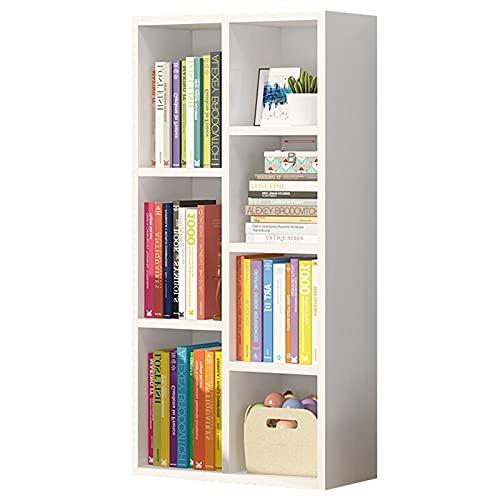 Librería de 4 niveles Estante de exhibición de almacenamiento Librería de suelo para la biblioteca del dormitorio de la sala de estar de la oficina en casa Unidad de estantería de pasillo,Blanco