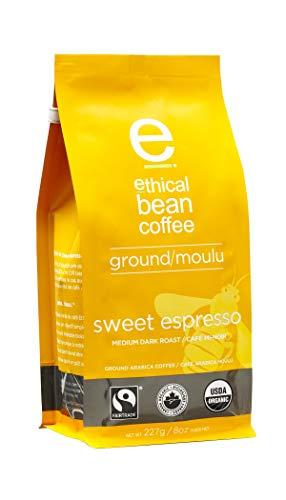 Ethical Bean Fairtrade Organic Sweet Espresso Medium Dark Roast Ground Espresso Coffee (8 oz Bag)
