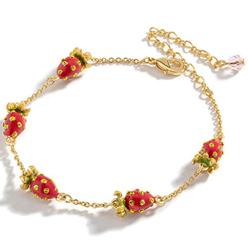 Bracelets Bangle Bracelets For Women Adjustable Length Bangle, Hand-painted Enamel Wristband, Gilded Strawberry Jewelry, (Color : Gold+red, Size : 22.5cm)