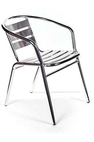 Sedia Poltrona Seduta Bar Da Esterno In Allumino Impilabile 50X56Xh74 Cm 1Pz