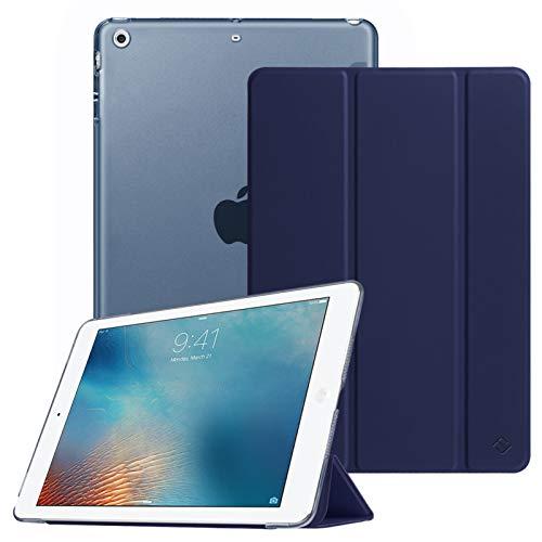 FINTIE Coque pour iPad Air 2 2014 / iPad Air 2013 9.7 Pouces - Etui de Protection Mince et Léger Housse Arrière Semi-Transparent avec Fonction Sommeil/Réveil Automatique, Bleu Marine
