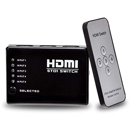 ADAPTADOR HUB SWITCH HDMI 5X1 COM CONTROLE REMOTO 5 PORTAS HDMI SPLITTER FULL HD PARA VIDEO GAME, TV, HOME THEATER, XBOX E ETC