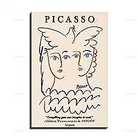 ピカソポスター、抽象フェイスアート、現代ミニマリスト、ピカソ抽象アート、美術館展示アート、ピカソ展示ポスター/ 50x70cm-フレームなし