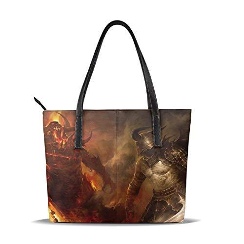 Bolsa de mano para videojuegos Guild War para mujer, de cuero, con cremallera, impermeable, duradera en el interior, 1 cremallera, apto para poeta