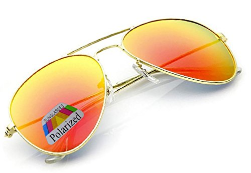 4sold Klassische Unisex Polarisierte Sonnenbrille in vielen Farbkombinationen (Orange)