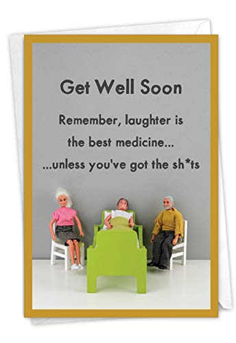NobleWorks - Funny Get Well Greeting Card - Hilarious Feel Better Notecard with Envelope - Best Medicine C7317GWG