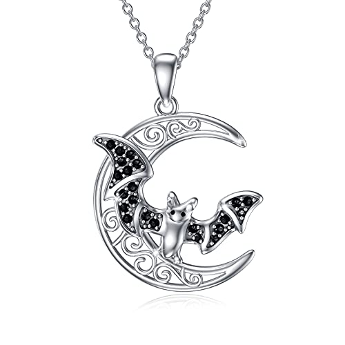 Waysles Bat Necklace Celtic Moon Necklace 925 Sterling Silver Pendant Dainty Crescent Moon Necklace Jewelry for Women Girls