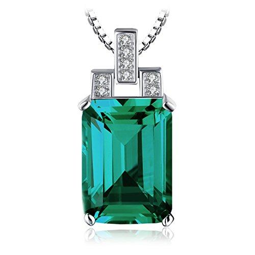 JewelryPalace 6.51ct Grün Simulierte Nano Russisch Smargd Anhänger Halskette Kette 925 Sterling Silber Damen