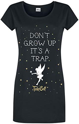 Peter Pan Tinker Bell - Don't Grow Up Mujer Pijama Negro S, 100% algodón,