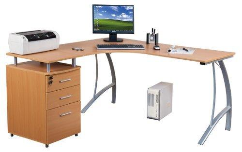 hjh OFFICE Computer-Eck-Schreibtisch Castor buche Silber mit Standcontainer, 151/143 x 76 x 55 cm, Drucker-Podest, robust gefertigt, einfacher Aufbau, PC-Workstation 673400