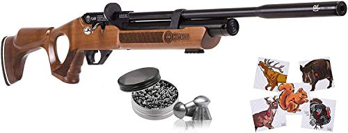 Hatsan Flash Wood QE .25 Cal Air Rifle with Pack of 150ct Pellets and 100x Paper Targets Bundle (Hardwood Stock)